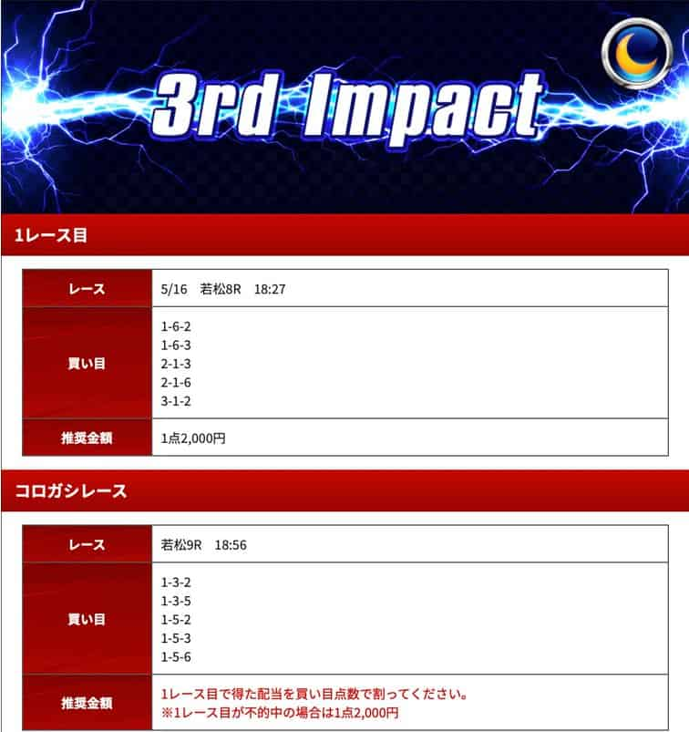 競艇インパクトの有料プラン「3rd Impact(ナイター)」