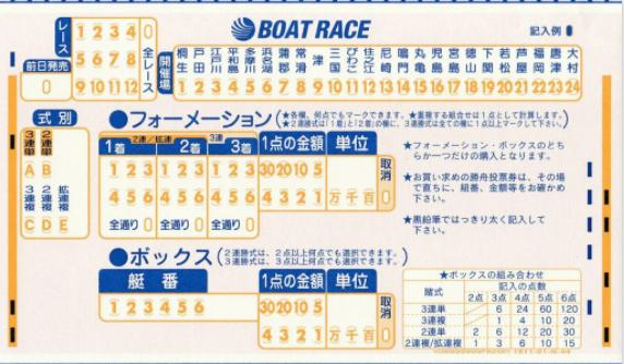マークシート舟券の画像||競艇予想サイト 口コミ 評価 評判 検証 当たる 当たらない